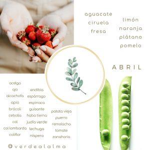 infografía frutas y verduras de temporada del mes de abril