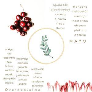 infografía de Verde al Alma de frutas y verduras de temporada del mes de mayo